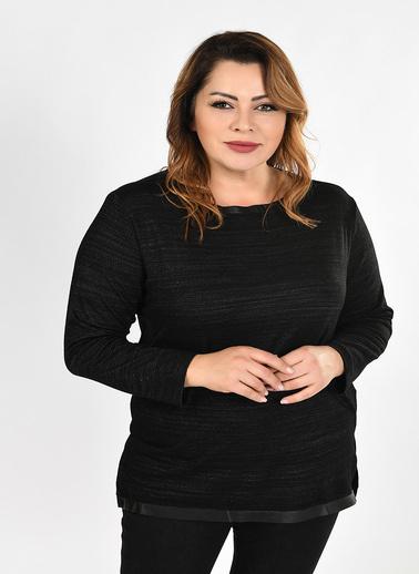 Optique Knitwear Düz Kayık Yaka Uzun Kol Simli Bluz Siyah